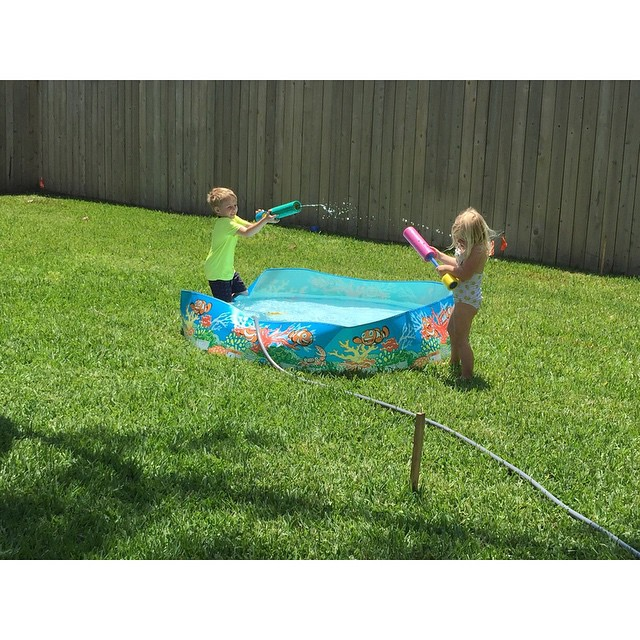 Watching these two have a water fight is hilarious.#dailyfancyashley2015 #littlepresidents