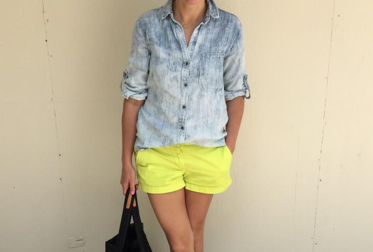 Highlighter Green Shorts and Chambray Shirt