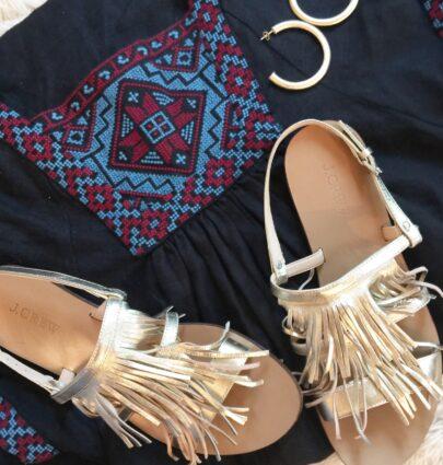 embroidered-dress-fringe-sandals