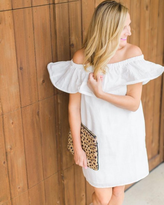 The perfect white off the shoulder dress for Friday night!hellip