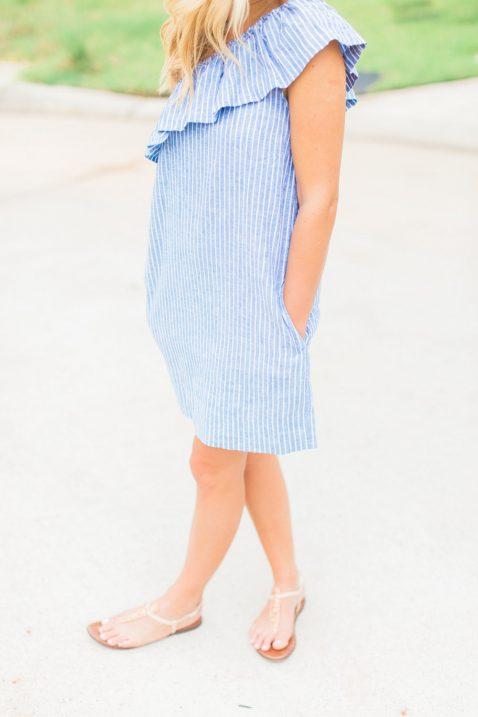 striped one shoulder dress
