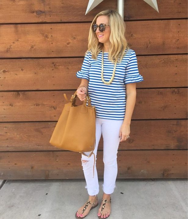 Living in this tee lately! Stripes and ruffle sleeves ME!hellip