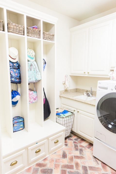 Brick Floor Laundry Room : A glimpse into my mudroom inspired laundry room with brick