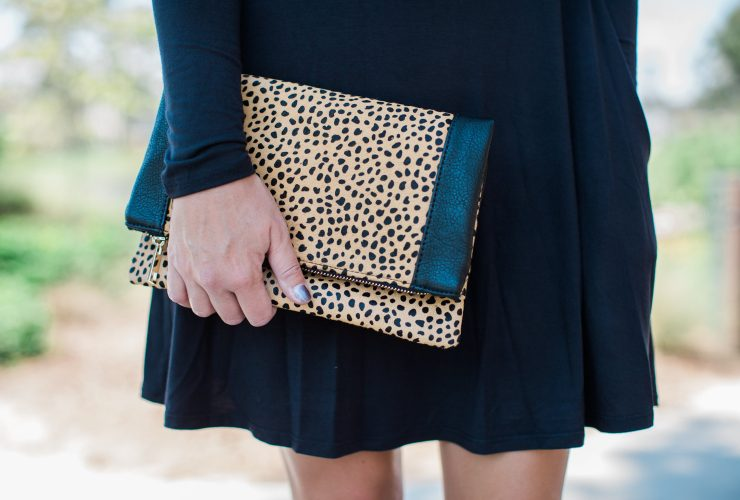 Black Dress, Booties and Leopard Clutch