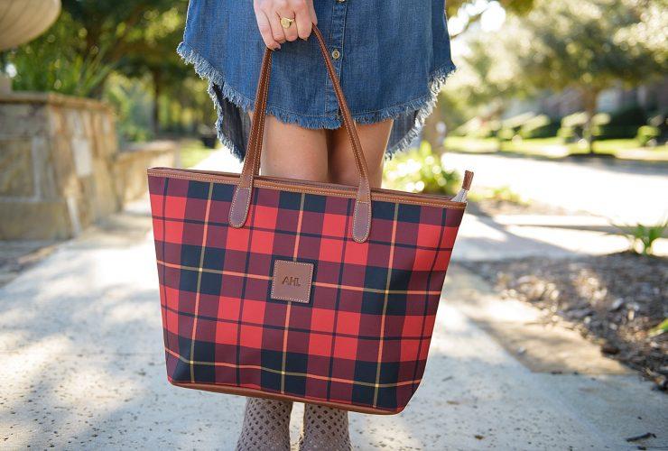 Plaid Tote Bag and Denim Shirtdress