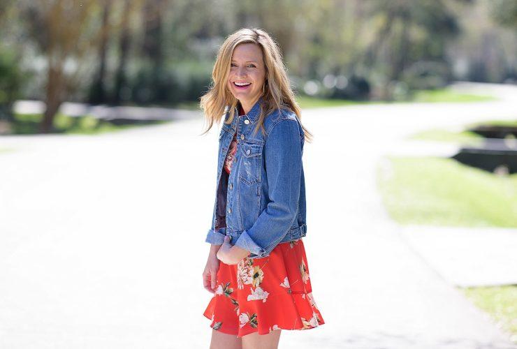 Red Floral Dress Wedges and Denim Jacket