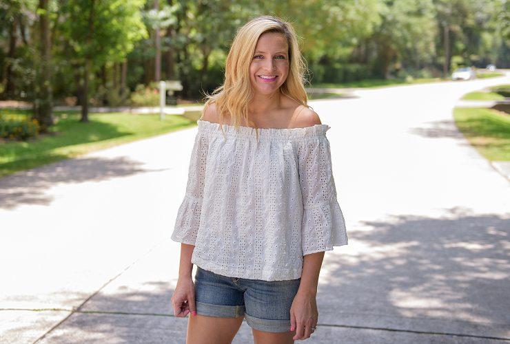 Sale Alert: White Eyelet Off The Shoulder Top and Denim Shorts