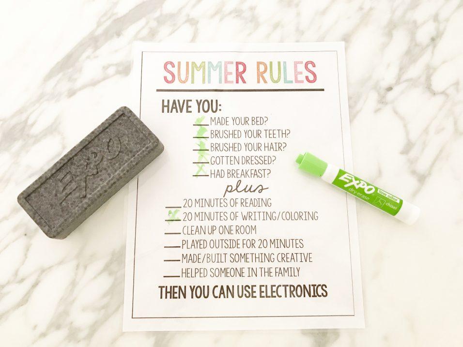 Summer Rules for Kids