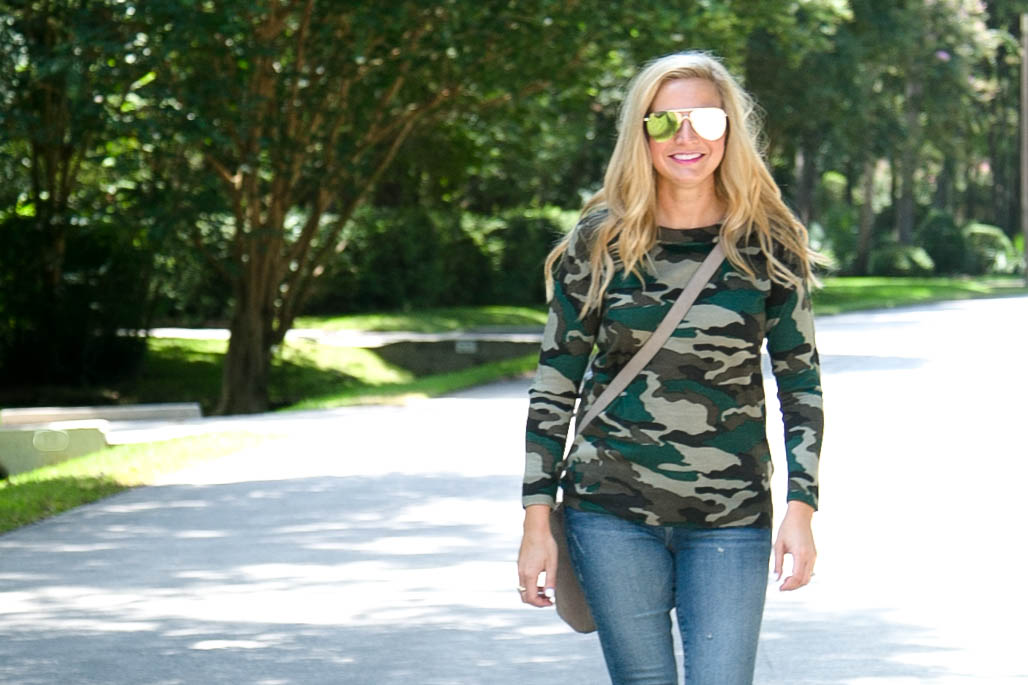 J Crew Favorites on Amazon, featured by popular Houston fashion blogger, Fancy Ashley: J Crew camo seater - Friday Favorites