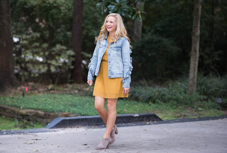 Mustard Colored Dress with Booties