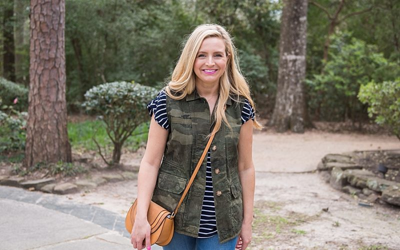 Camo Vest, Striped Top and Jeans