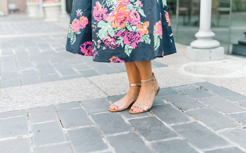 Floral Dress, Straw Bag and Gold Sandals