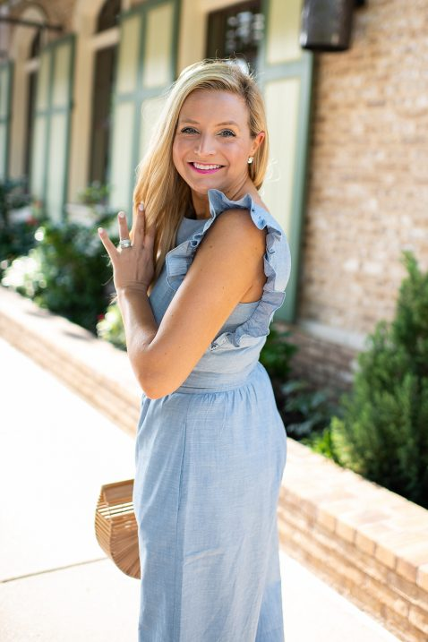 1901 Ruffle Jumpsuit styled by popular Houston style blogger, Fancy Ashley