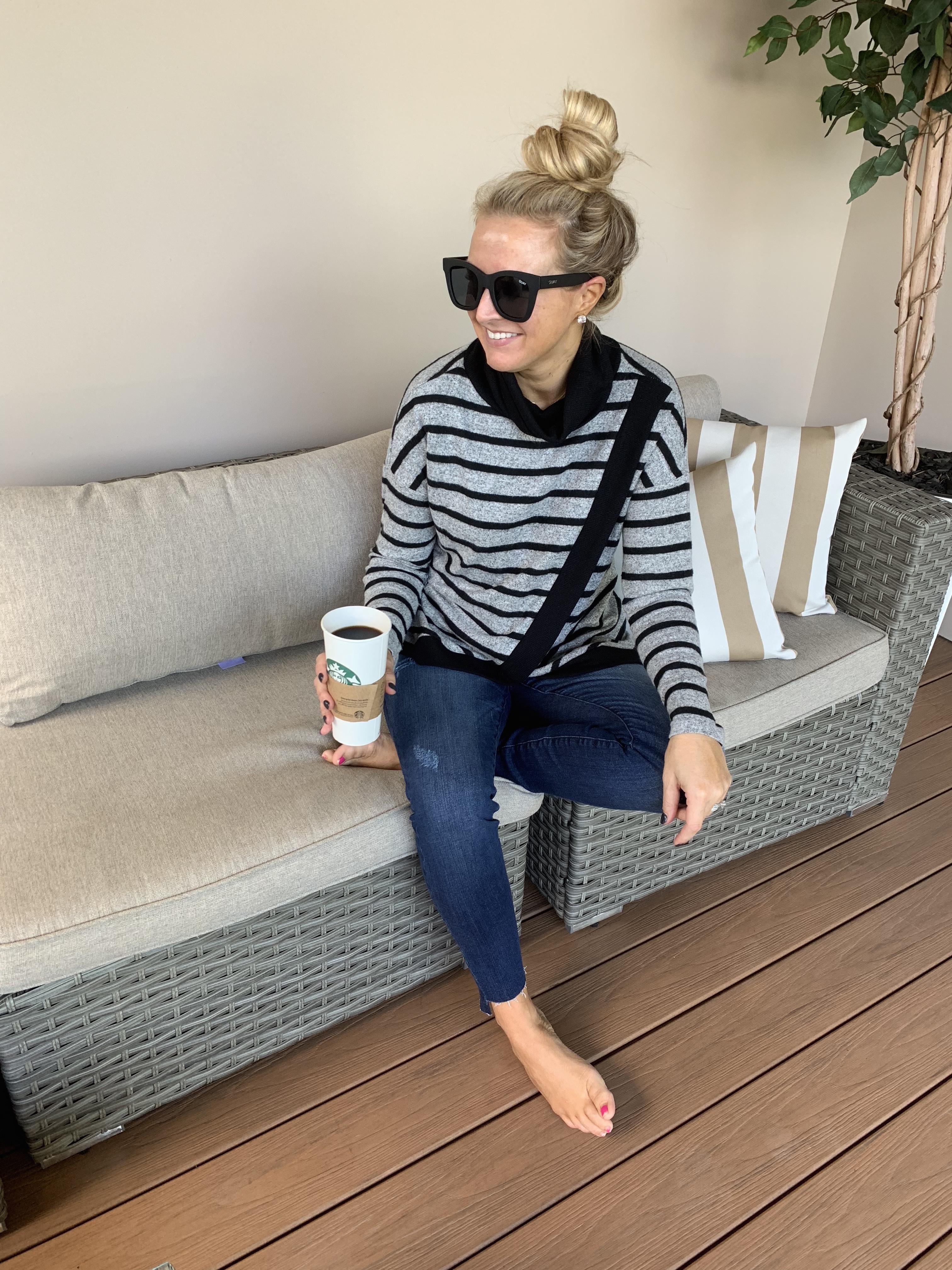 Nordstrom Striped Turtleneck styled by top Houston fashion blog, Fancy Ashley