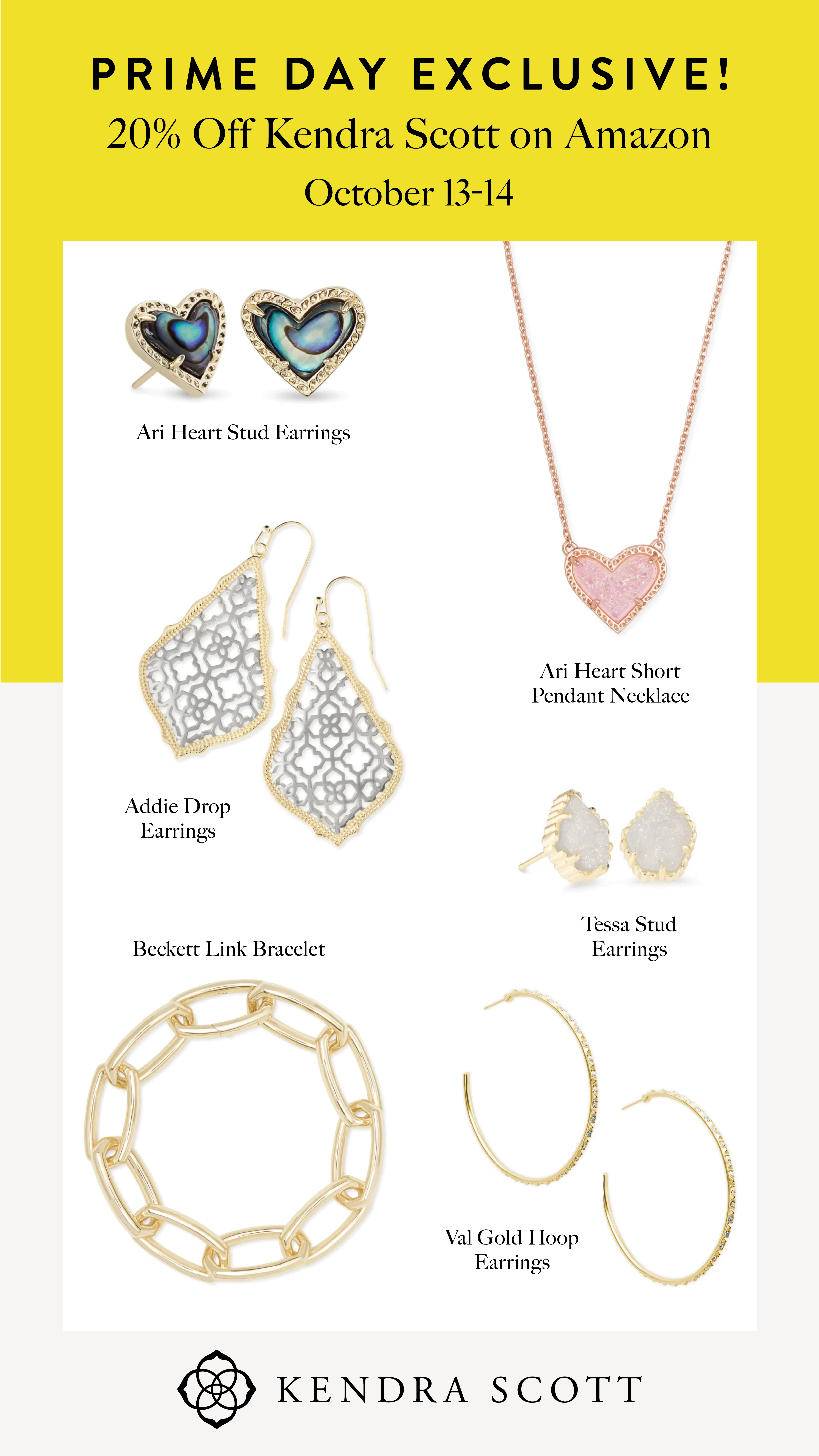 Prime Day by popular Houston life and style blog, Fancy Ashley: collage image of Kendra Scott Earrings and necklace.