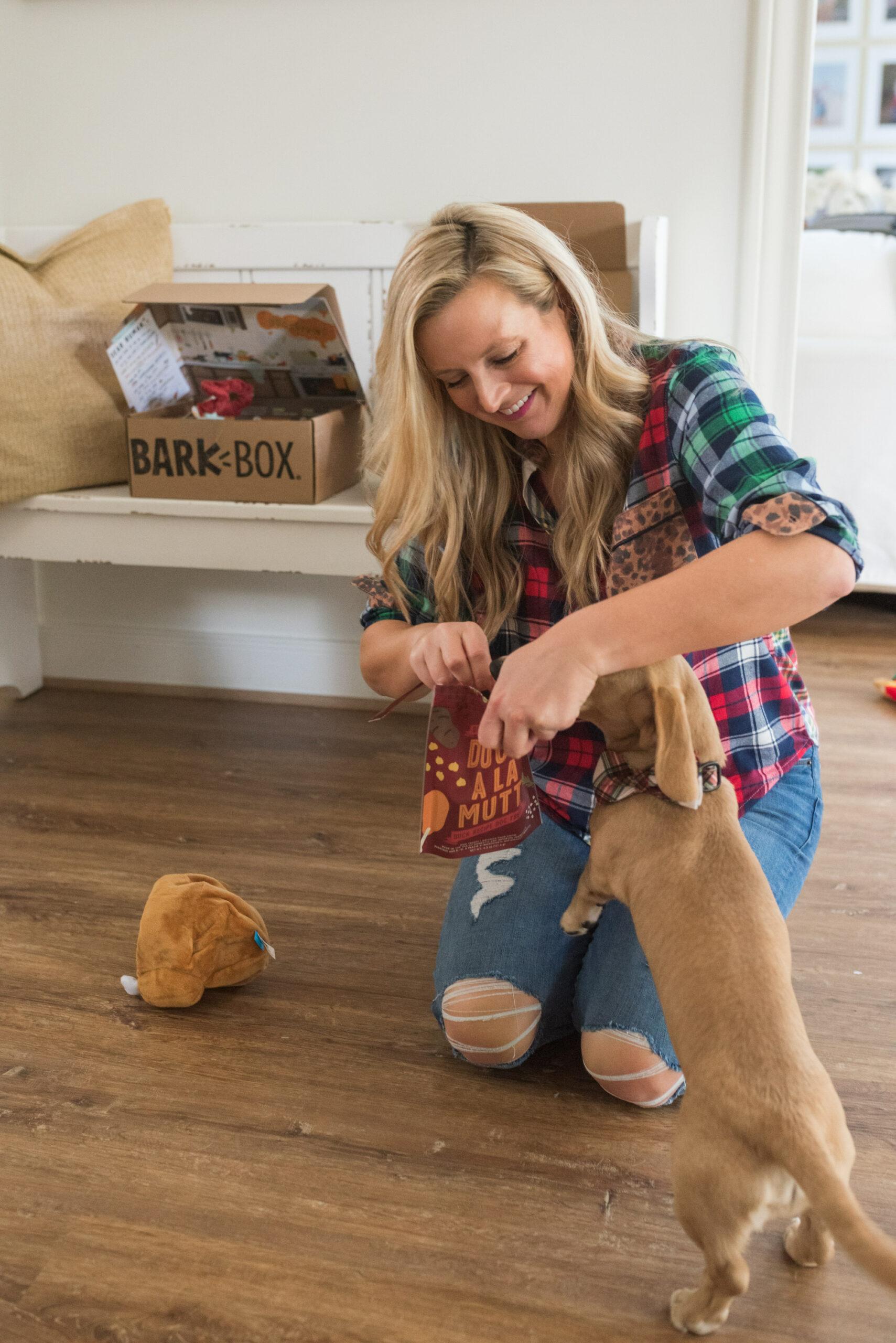 Barkbox Toys by popular Houston lifestyle blog, Fancy Ashley: image of a woman giving her dog some Barkbox treats.