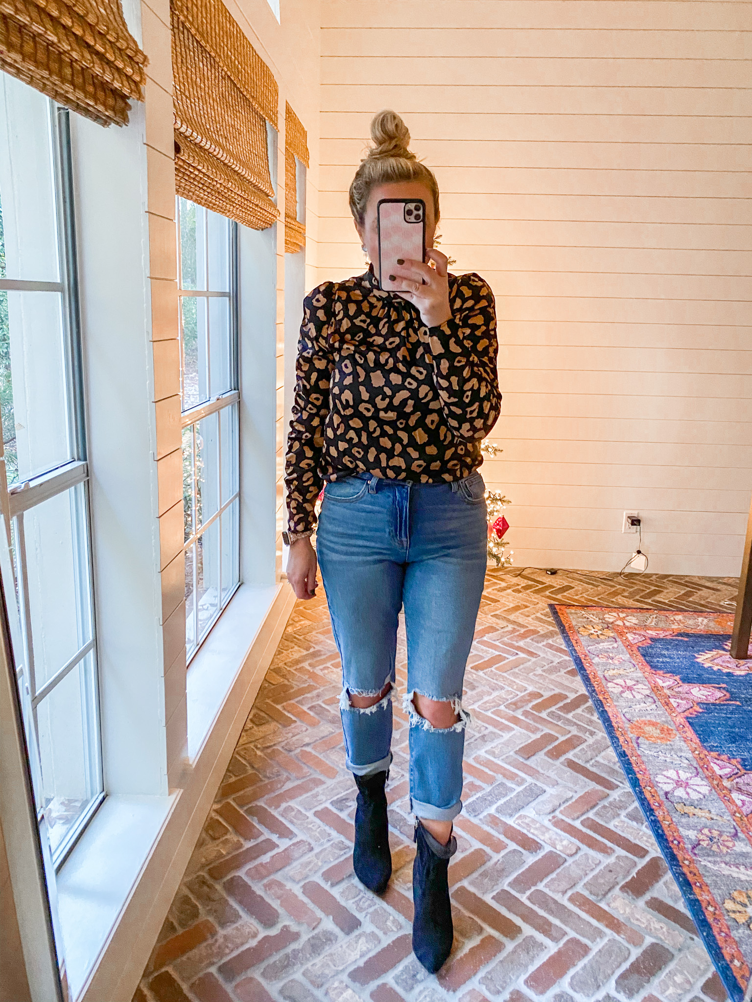 Walmart Womens Clothes by popular Houston fashion blog, Fancy Ashley: image of a woman wearing a Walmart Scoop Women's Mock Neck Top with Ruched Sleeves, Walmart No Boundaries Juniors' Mom Jeans, and Walmart Scoop Women's Blair Scrunch Stiletto Heeled Booties.