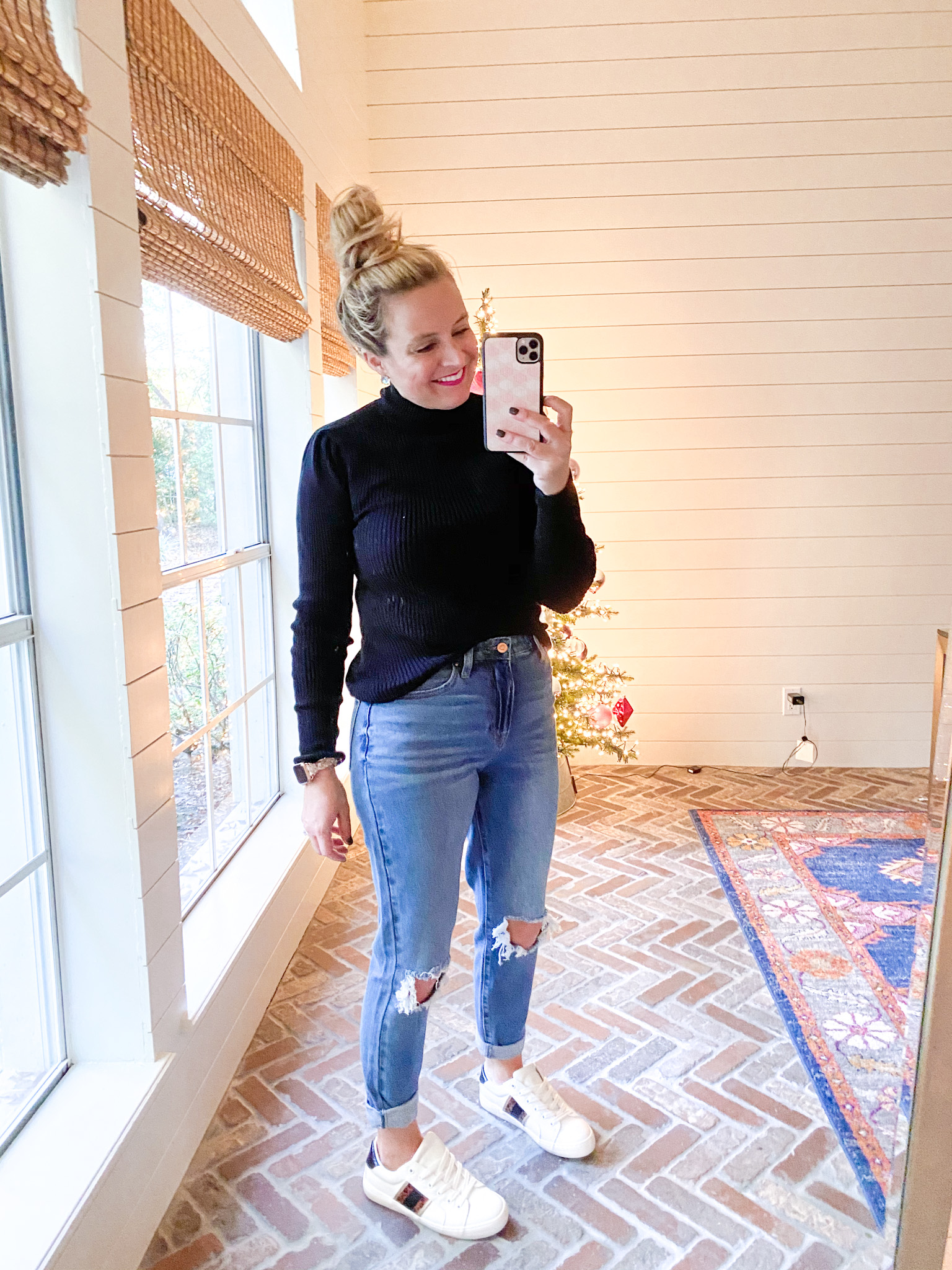 Walmart Womens Clothes by popular Houston fashion blog, Fancy Ashley: image of a woman wearing a Walmart Scoop Women's Mock Neck Top with Ruched Sleeves, Walmart No Boundaries Juniors' Mom Jeans, and Walmart white sneakers.