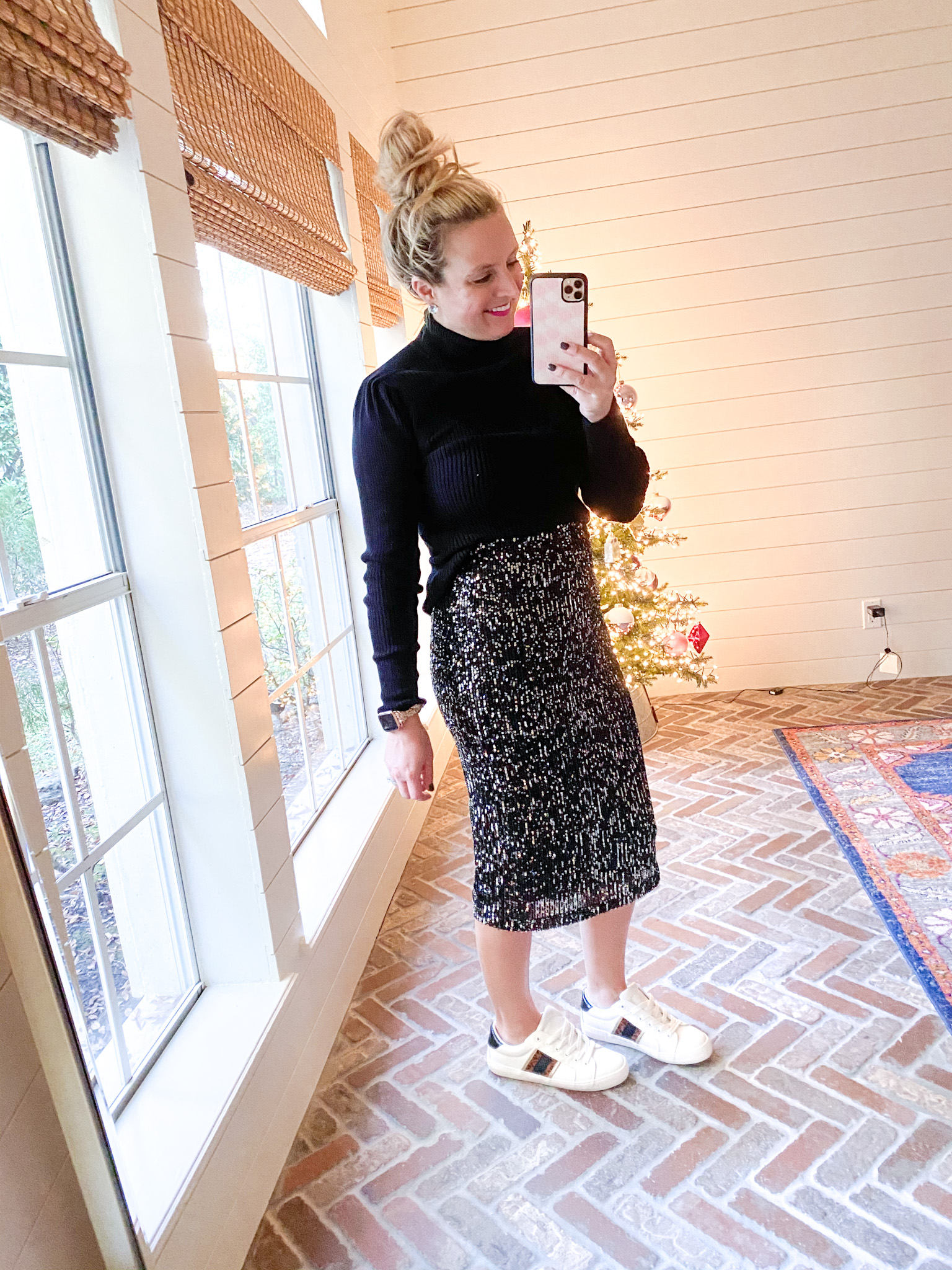 Walmart Womens Clothes by popular Houston fashion blog, Fancy Ashley: image of a woman wearing a Walmart Scoop Women's Mock Neck Top with Ruched Sleeves, Walmart Scoop Sequin skirt, and Walmart white sneakers.