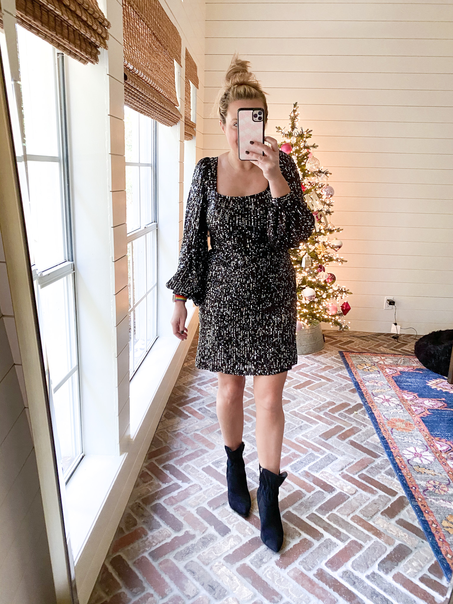 Walmart Womens Clothes by popular Houston fashion blog, Fancy Ashley: image of a woman wearing a Walmart Scoop Women's Sequin Dress with Bishop Sleeves and Walmart Scoop black suede booties.
