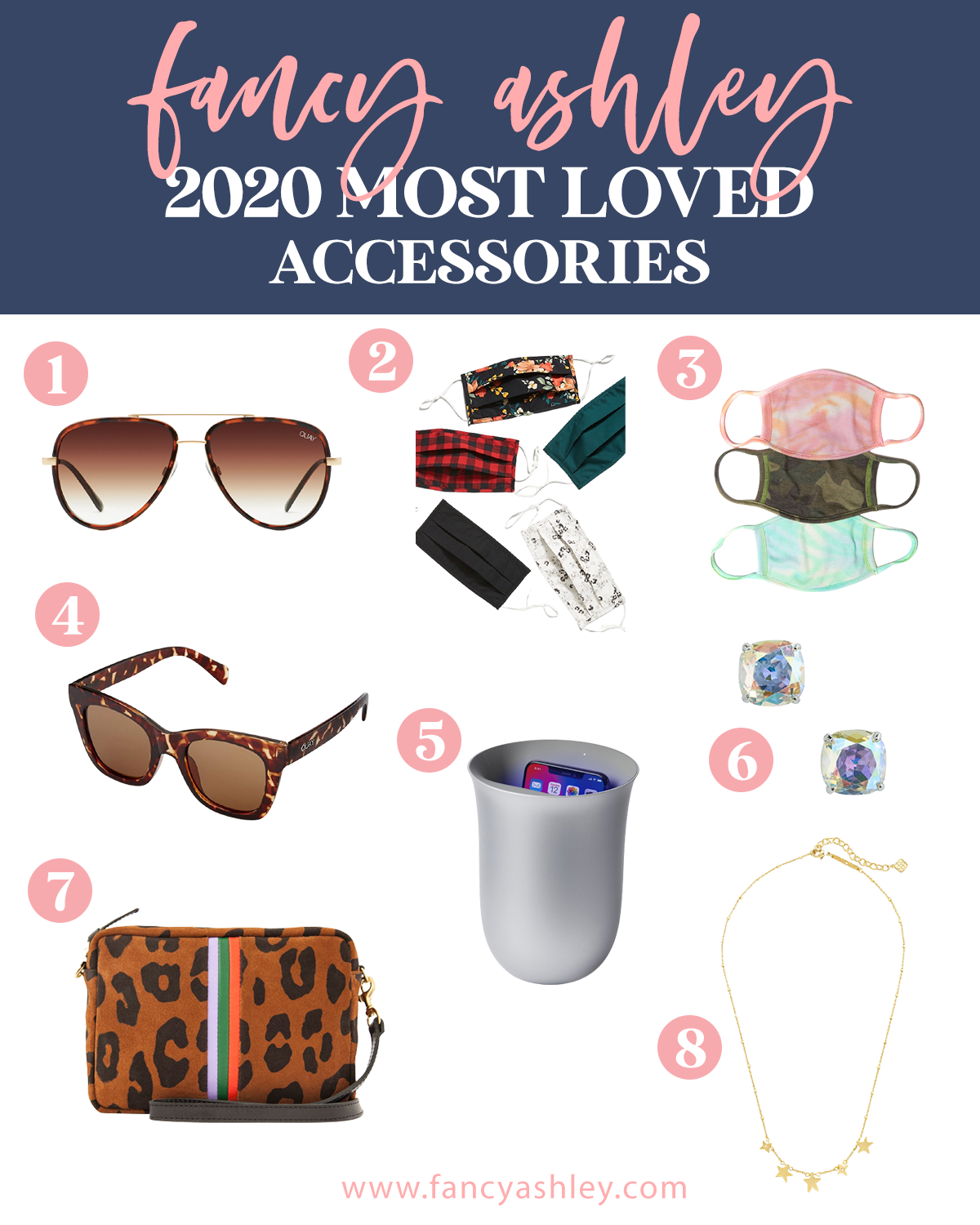 Fashion Accessories by popular Houston fashion blog, Fancy Ashley: collage image of sunglasses, fabric face masks, gold star necklace, CZ stud earrings, leopard print bag, and Oblio Wireless Charger & UV Cleaner.