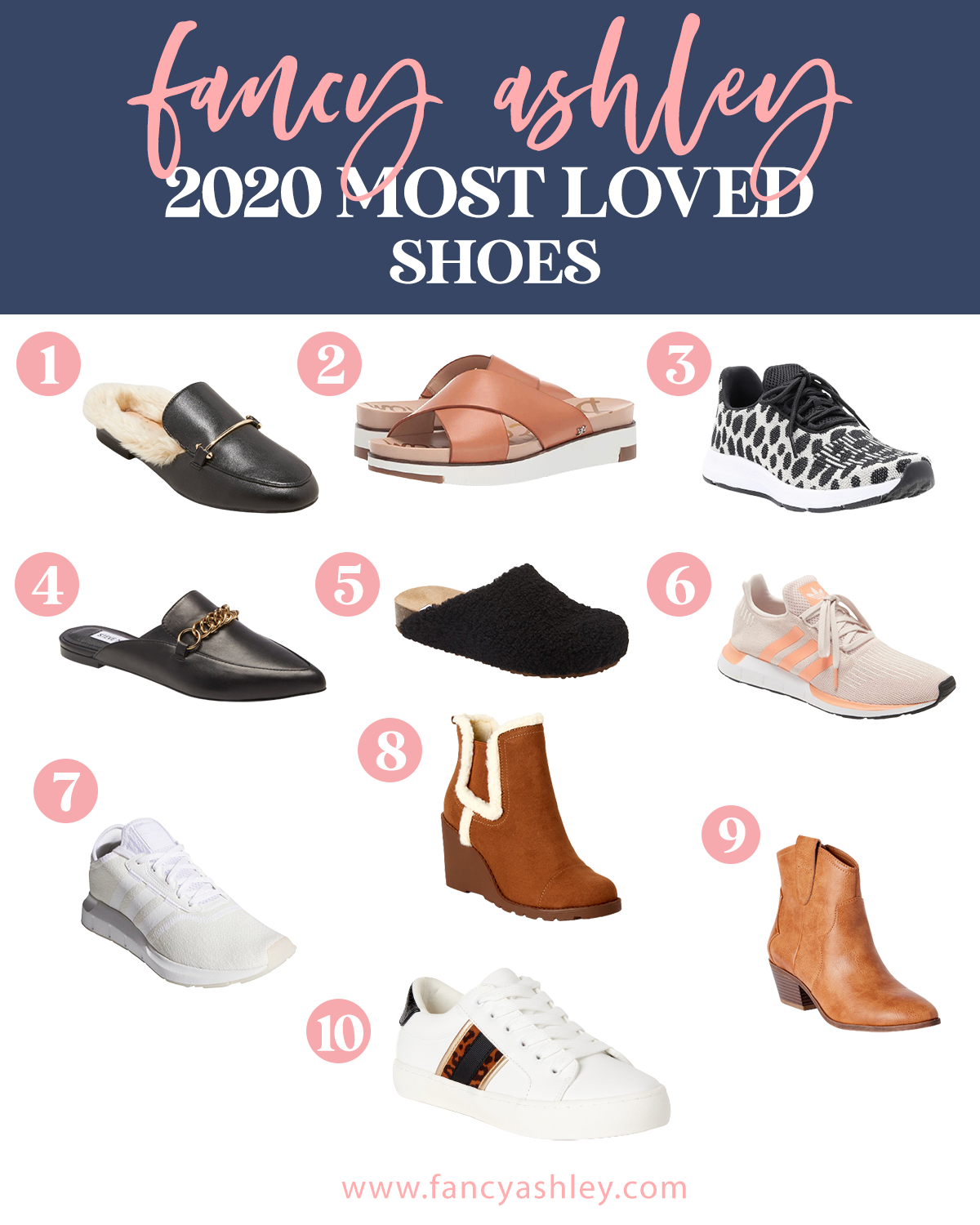Best Shoes by popular Houston fashion blog, Fancy Ashley: collage image of black slide mules, athletic shoes, white sneakers, brown suede wedge ankle boots, and tan ankle boots.