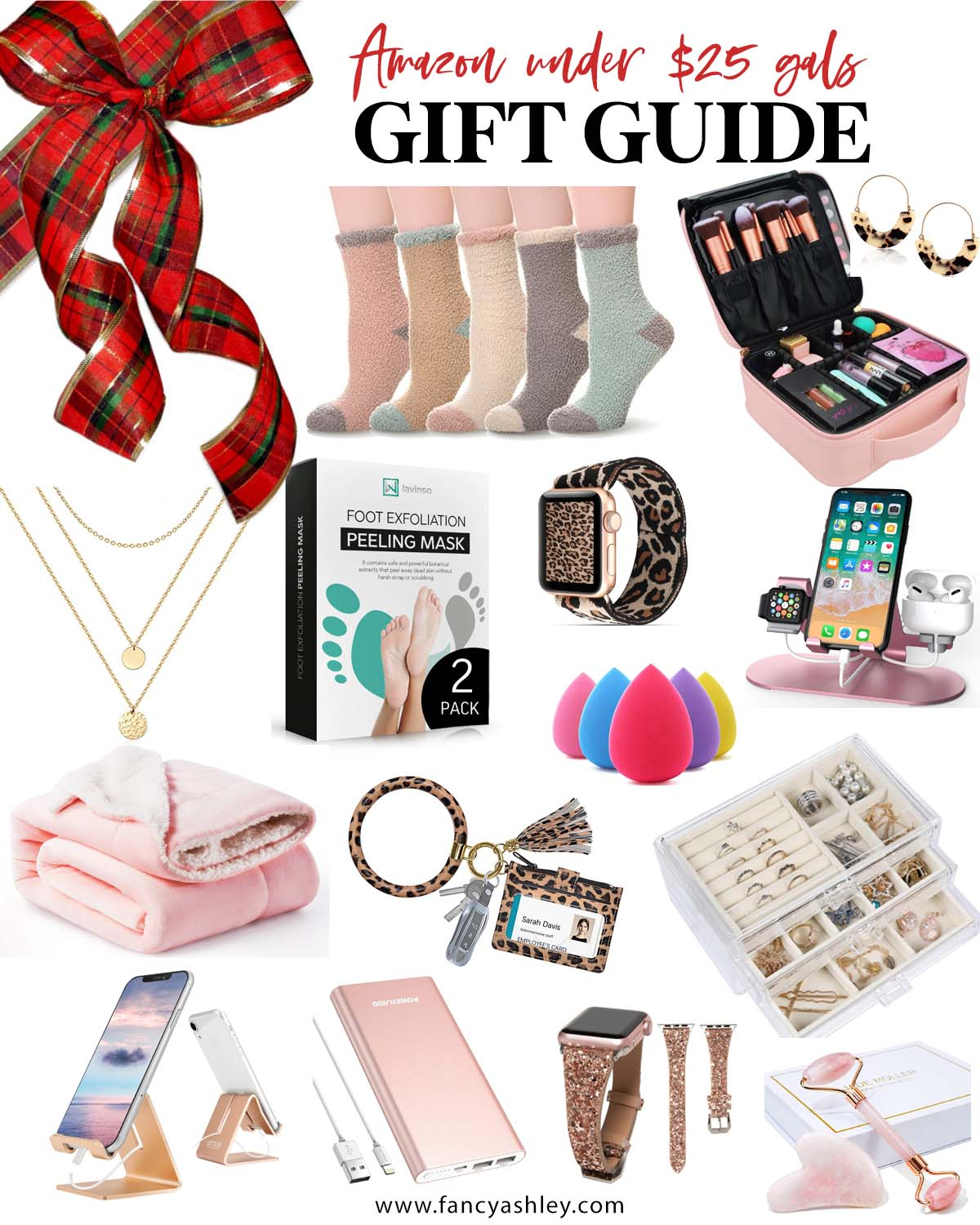 Amazon Gifts Under $25 by popular Houston life and style blog, Fancy Ashley: collage image of fuzzy socks, makeup case, hoop earrings, leopard print Apple watch band, gold layer necklace, foot exfoliation kit, rose quartz face roller, iphone stand, portable batter charger, beauty blender, key ring, and jewelry orgainzer.
