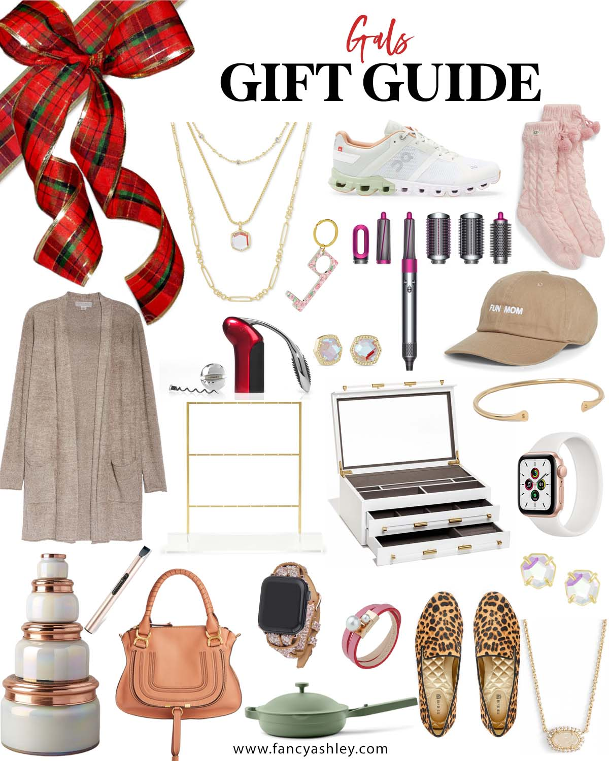 Gift Ideas for Women by popular Houston life and style blog, Fancy Ashley: collage image of a cardigan duster, Dyson hair style tool, sneakers, pink socks, no touch key ring, hat, leopard print flats, candle set, apple watch band, Kendra Scott earrings and necklace, wrap bracelet, orange purse, jewelry organizer, lighter, and a Always pan.