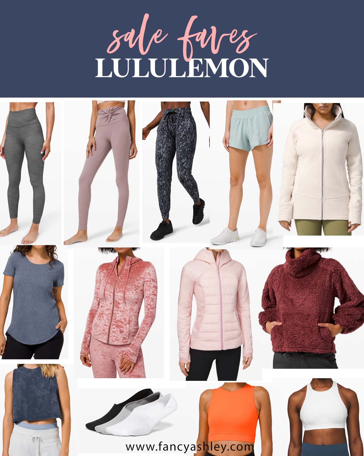 After Christmas Sales by popular Houston life and style blog, Fancy Ashley: collage image of Lululemon clothing.