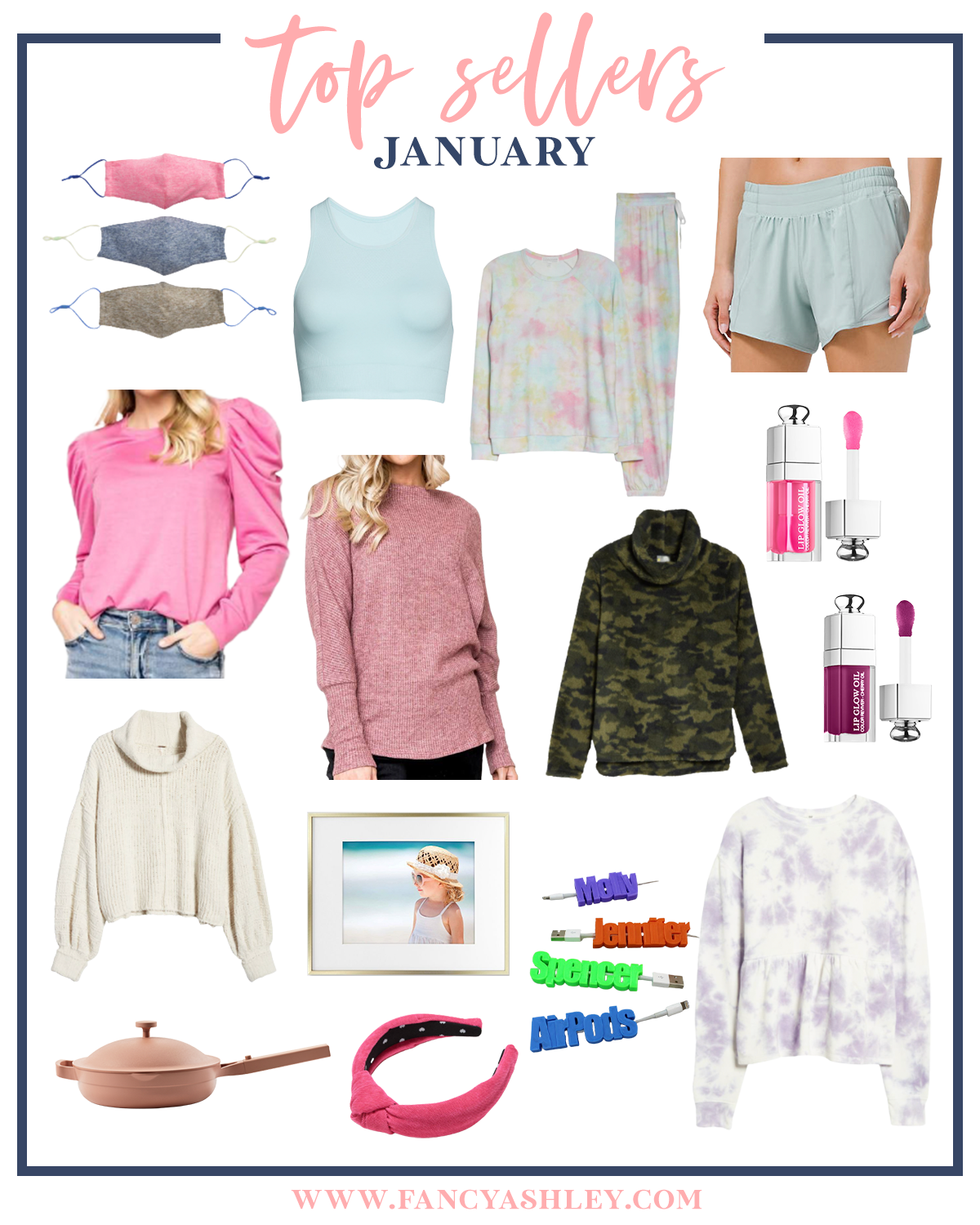 January Top Sellers by popular Houston life and style blog, Fancy Ashley: collage image of face masks, blue tank top, tie dye loungewear set, blue shorts, pink puff sleeve top, pink mock neck sweater, fleece camo cowl sweater, cream turtleneck sweater, pink knot headband, purple and white tie dye peplum top, gold picture frame, name hair clips, Everyday pan, and lip oil.