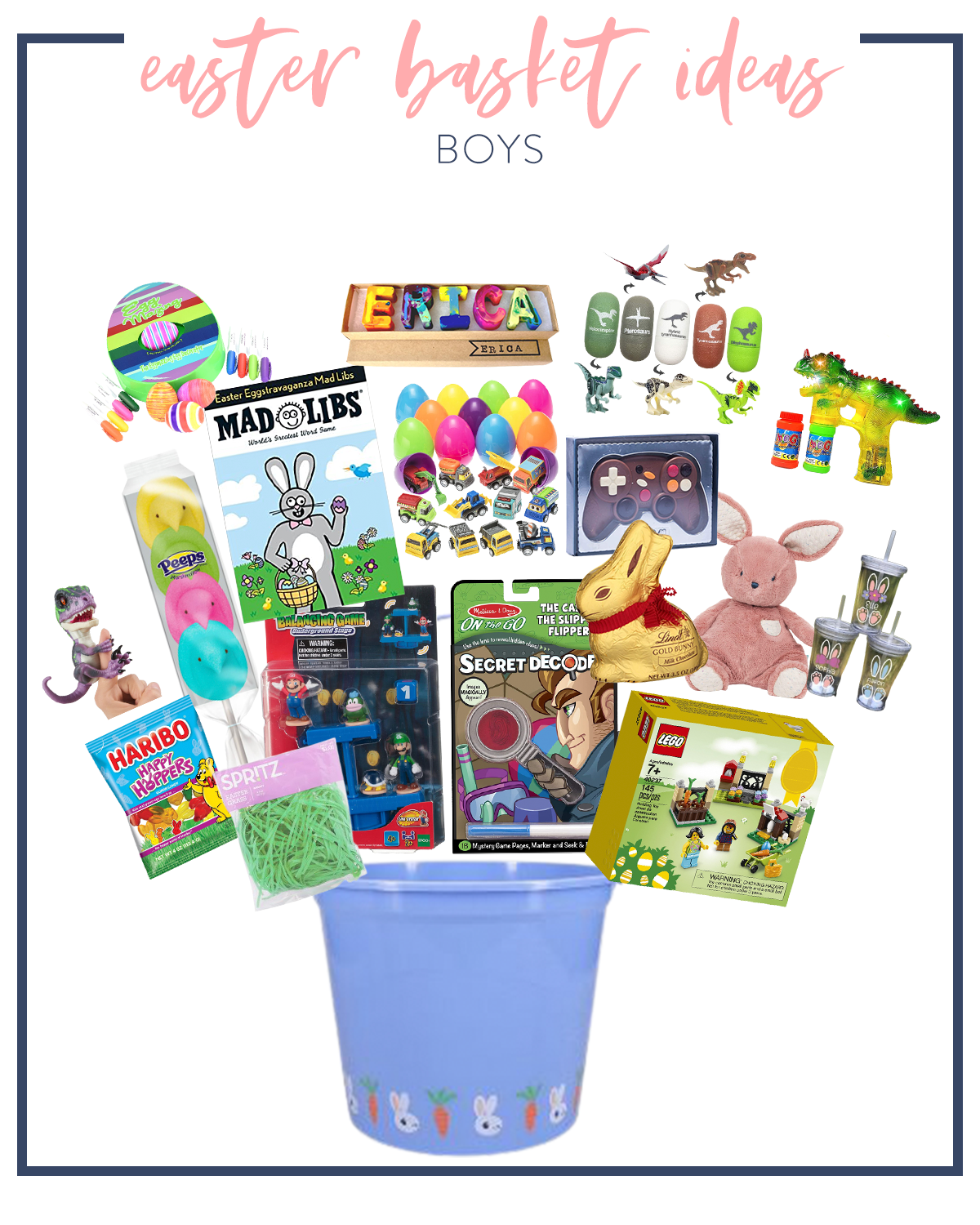 Kids Easter Basket Ideas by popular Houston lifestyle blog, Fancy Ashley: collage image of a blue plastic bucket, Haribo gummy bears, peeps on a stick, dinosaur finger toy, lego set, Mad Libs, Name crayons, Dinosaur bubble blower, chocolate game controller, Melissa and Doug secret decoder, stuffed bunny toy, green basket grass, and reusable tumbler.