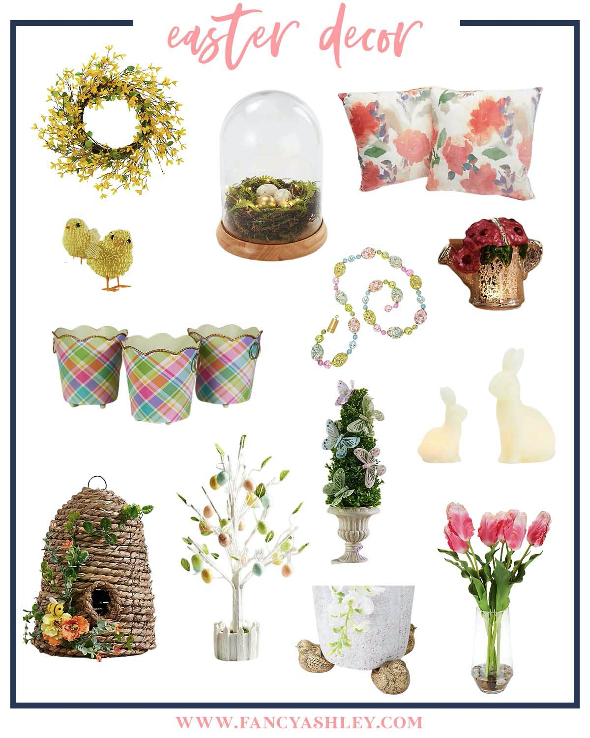 Easter Decor by popular Houston life and style blog, Fancy Ashley: collage image of a yellow flower wreath, baby chick decor, floral throw pillows, bird nest kloche, plaid ceramic buckets, egg tree decor, faux tulips, bird planter, gold watering can decor, Easter bunny decor and sea grass beehive decor.