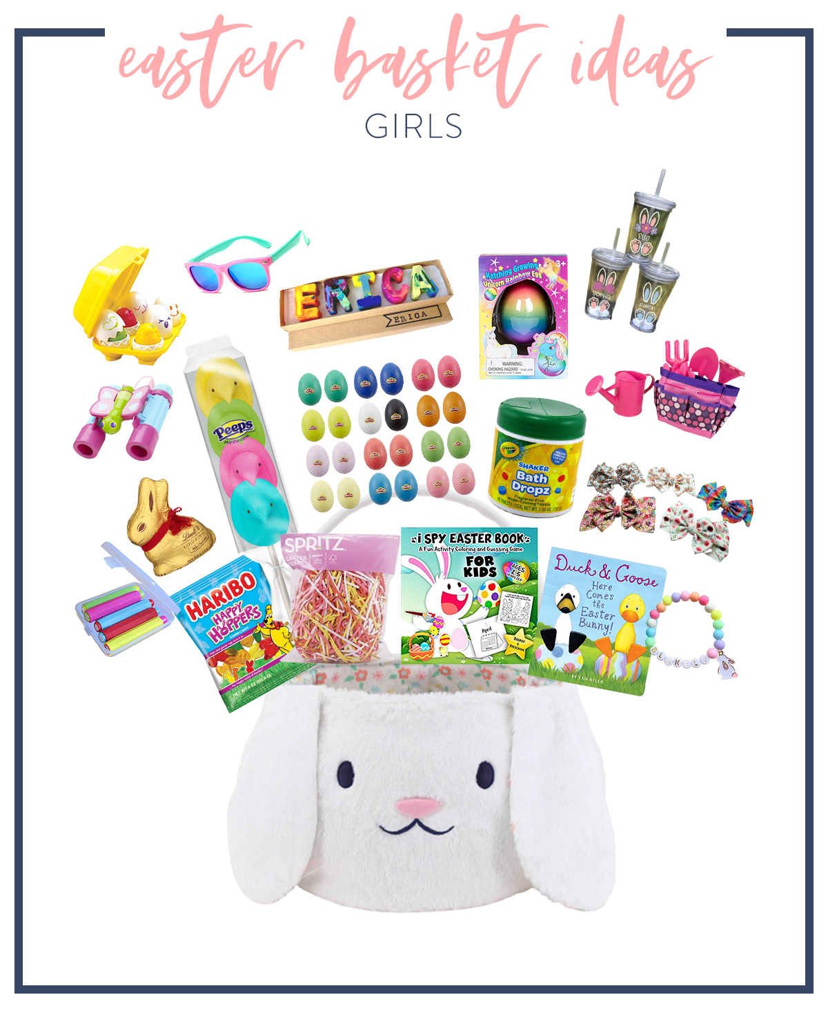 Kids Easter Basket Ideas by popular Houston lifestyle blog, Fancy Ashley: collage image of a white bunny basket, pink frame sunglasses, name crayons, gardening tools, Melissa and Doug binoculars, chocolate bunny, Haribo gummy bears, pink basket grass, Duck and Goose book, rainbow bead bracelets, Crayola bath drops, hair bows, and chalk.