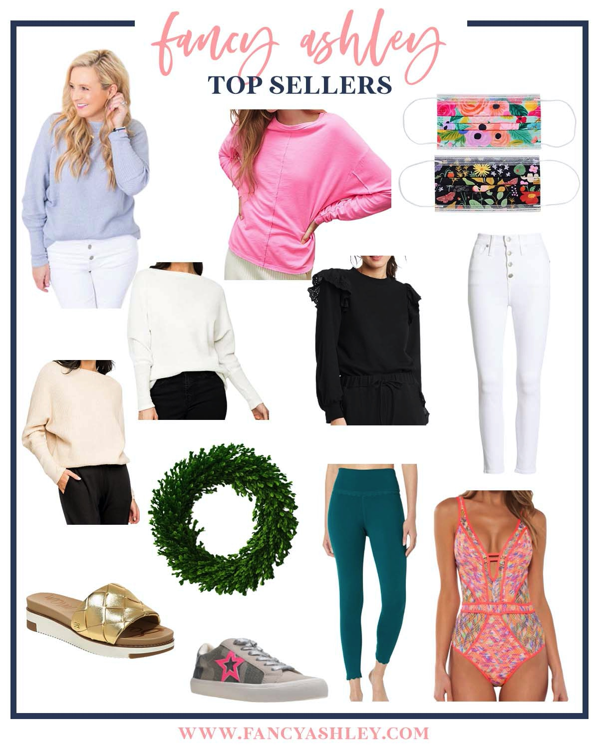 Top Sellers by popular Houston life and style blog, Fancy Ashley: collage image of sweaters, white jeans, swimsuit, Rifle Paper Co. masks, faux boxwood wreath gold slide sandals, and grey sneakers.