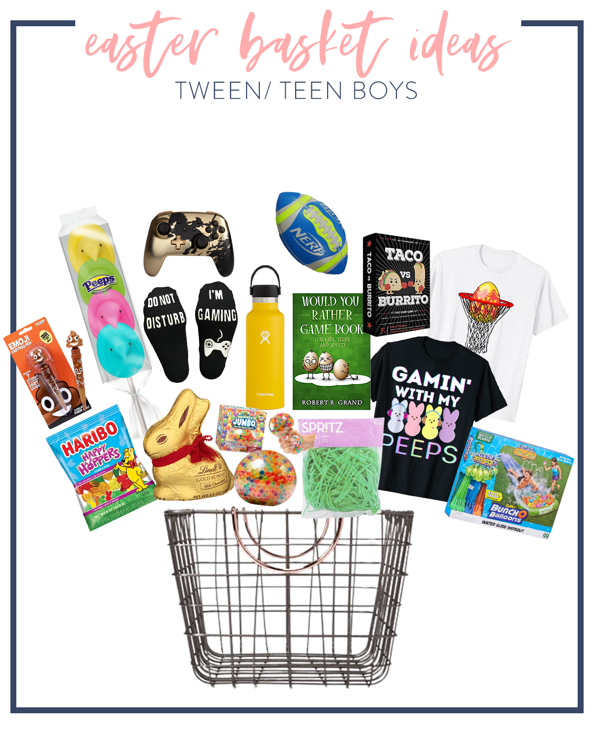 Kids Easter Basket Ideas by popular Houston lifestyle blog, Fancy Ashley: collage image of peeps, xbox game controller, nerf football, metal wire basket, chocolate bunny, green basket grass, peeps shirt, basketball egg shirt, haribo gummy bears, hydro flask water bottle, Would You Rather game Book, gaming socks, and poop emoji pen.