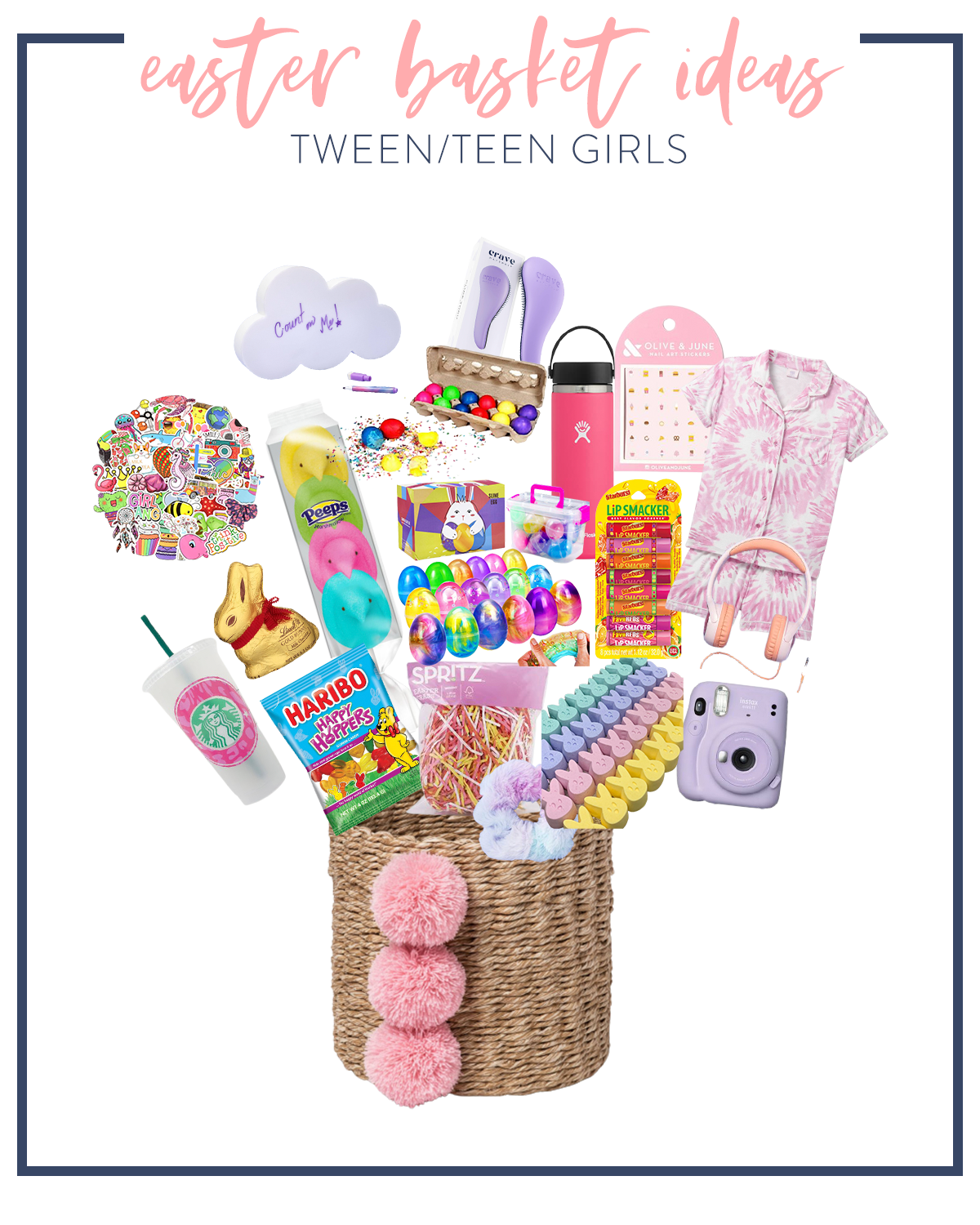 Kids Easter Basket Ideas by popular Houston lifestyle blog, Fancy Ashley: collage image of a wicker and pink pom basket, peeps, Instax camera, chocolate bunny, pink tie dye pajamas, pink hydro flax water bottle, lip smackers chapstick, pink and yellow basket grass, Haribo gummy bears, pink and white headphones, Starbucks tumbler, and stickers.