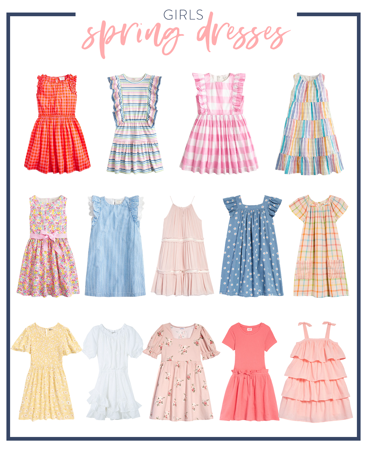 Spring Dresses by popular Houston fashion blog, Fancy Ashley: collage image of sleeveless red gingham dress, rainbow stripe dress, pink and white gingham flutter sleeve dress, pastel rainbow sleeveless maxi dress, multi color floral print dress with a pink bow sash, blue and white gingham flutter sleeve dress, pink spaghetti strap dress, blue and white daisy print dress, rainbow stripe dress with pockets, yellow dress, white ruffle hem dress, pink and white floral print dress, pink dress, pink ruffle tier tie strap dress.
