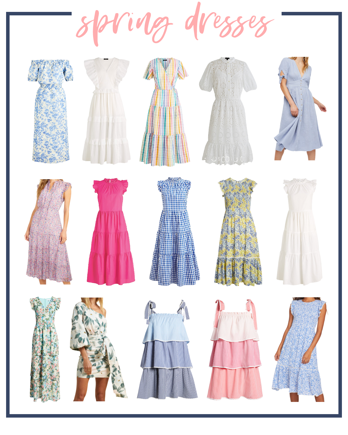 Spring Dresses by popular Houston fashion blog, Fancy Ashley: collage image of a off the shoulder blue and white floral print dress, white flutter sleeve maxi dress, multi color tiered maxi dress, white eyelet dress, blue tie sleeve dress, pink floral print dress, pink mock neck dress, blue gingham mock neck dress, blue and yellow floral maxi dress, white maxi dress, v-neck floral print maxi dress, one sleeve waist tie floral print dress, blue ombre tie strap dress, pink ombre tie strap dress, blue and white floral print dress.