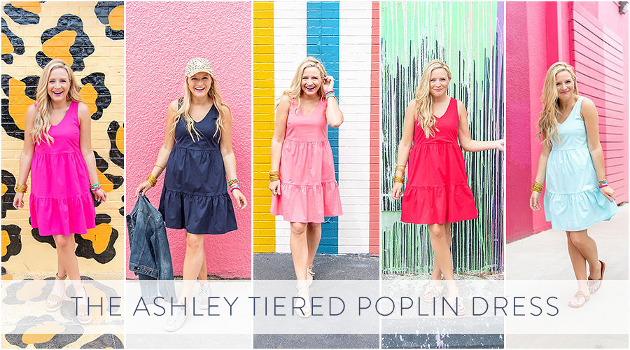 Summer Dress by popular Houston fashion blog, The House of Fancy: collage image of a woman wearing a Gibson Look Ashley tiered poplin dress.