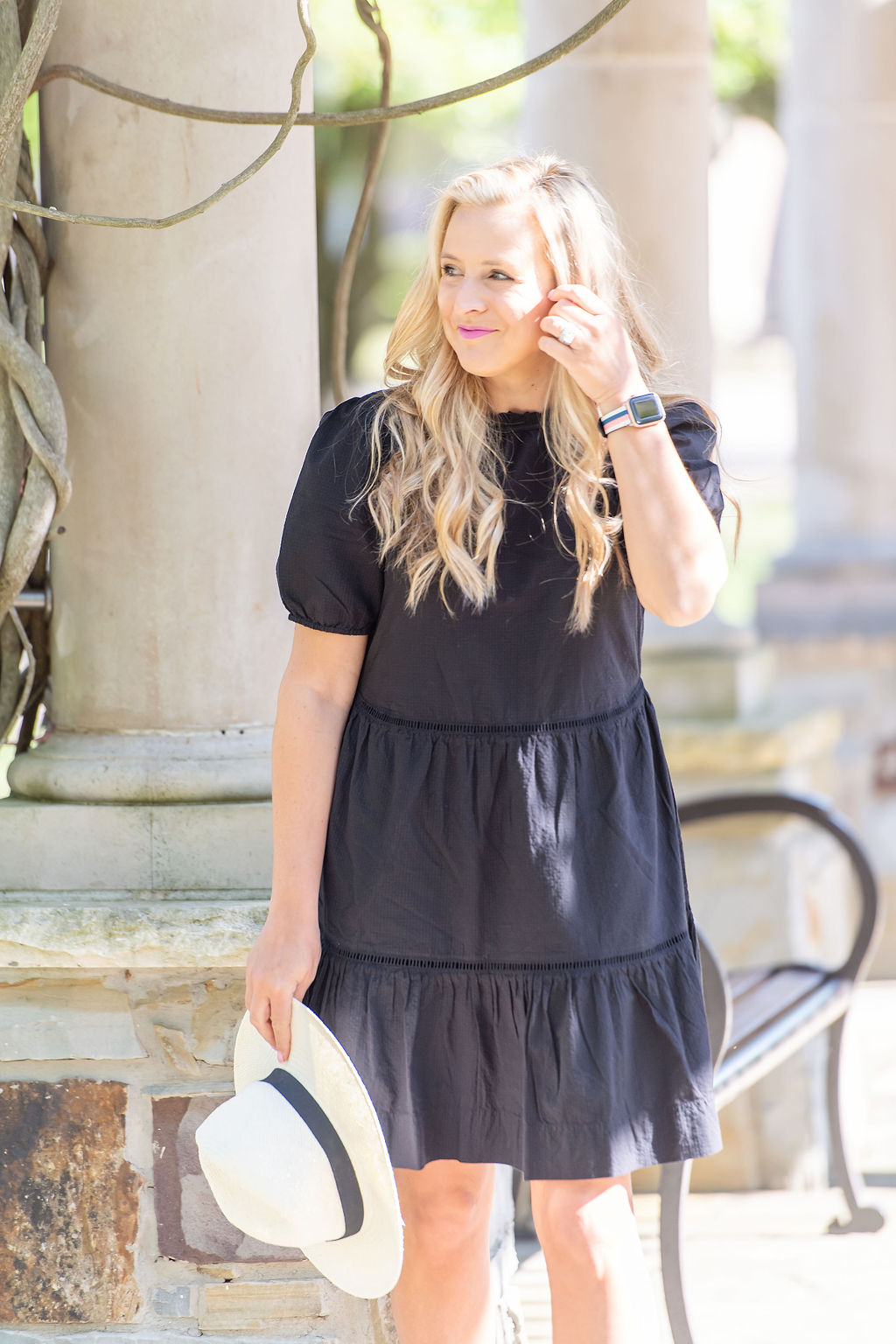 Little Black Dresses by popular Houston fashion blog, The House of Fancy: image of a woman wearing a black baby doll dress, white fedora hat, and studded strap sandals.
