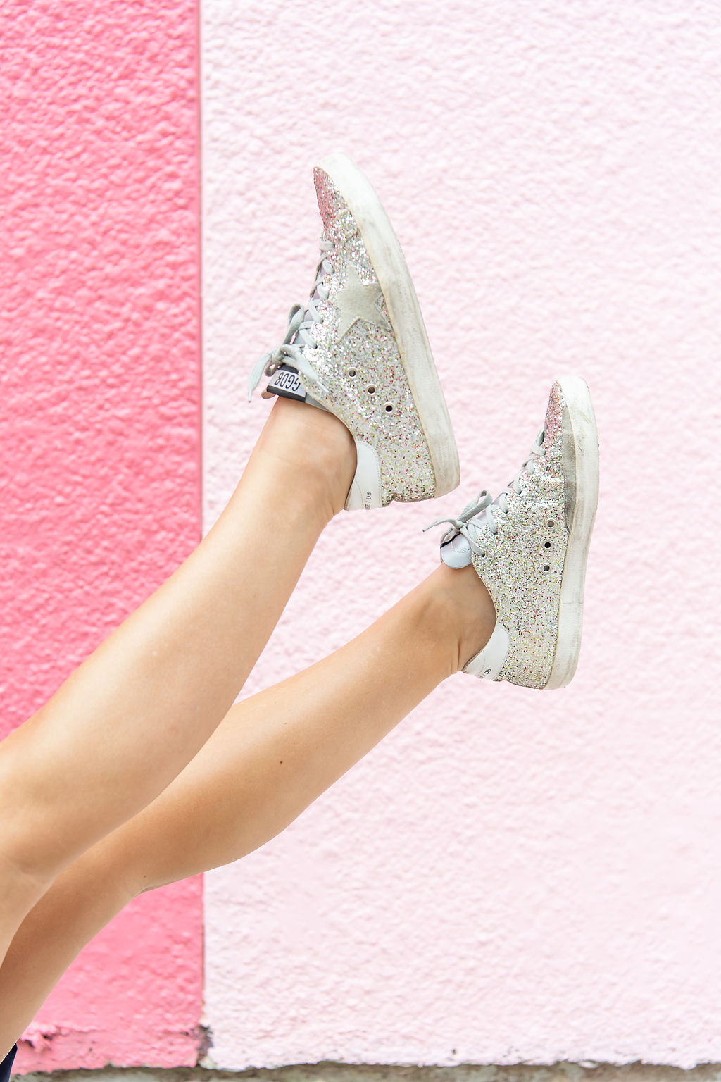 Summer Dress by popular Houston fashion blog, The House of Fancy: image of a woman wearing silver glitter Golden Goose sneakers.