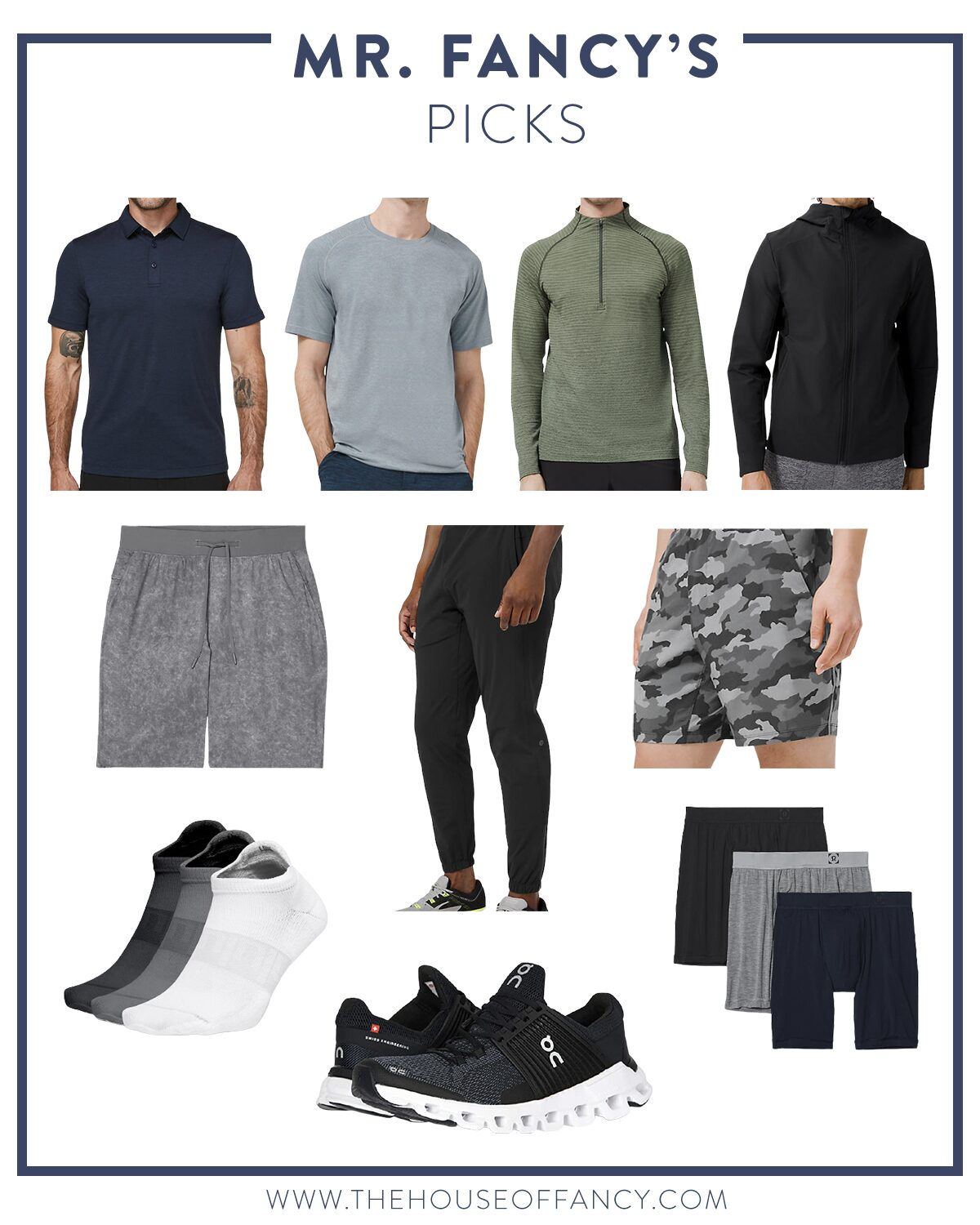 Men's Workout Gear by popular Houston fashion blog, The House of Fancy: collage image of Lululemon shirts, shorts, joggers, boxers, sneakers, and socks.