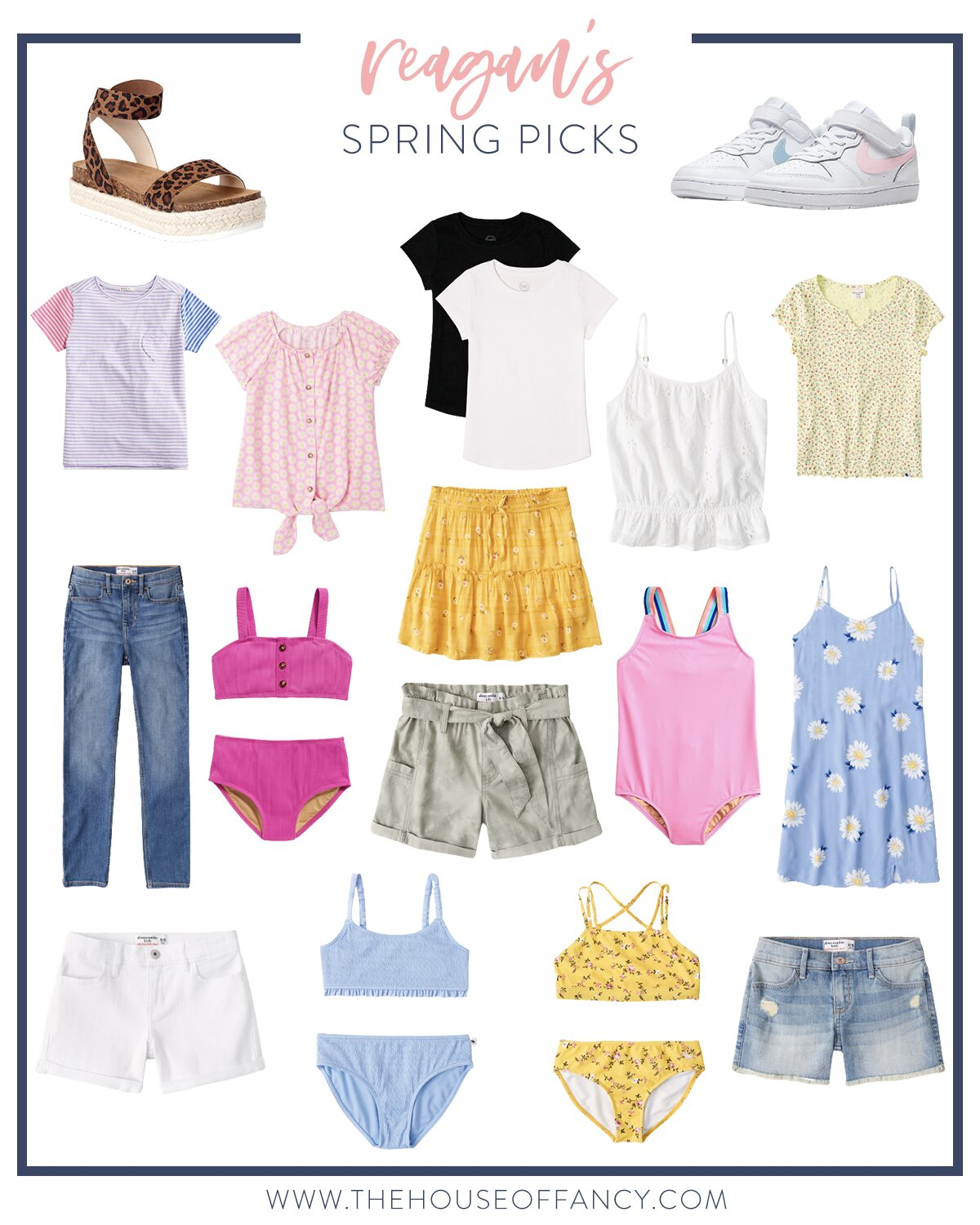 Spring Clothing by popular Houston fashion blog, The House of Fancy: collage image of shirts, tanks, shorts, skirts, two piece swimsuits, white sneakers, and leopard print sandals.