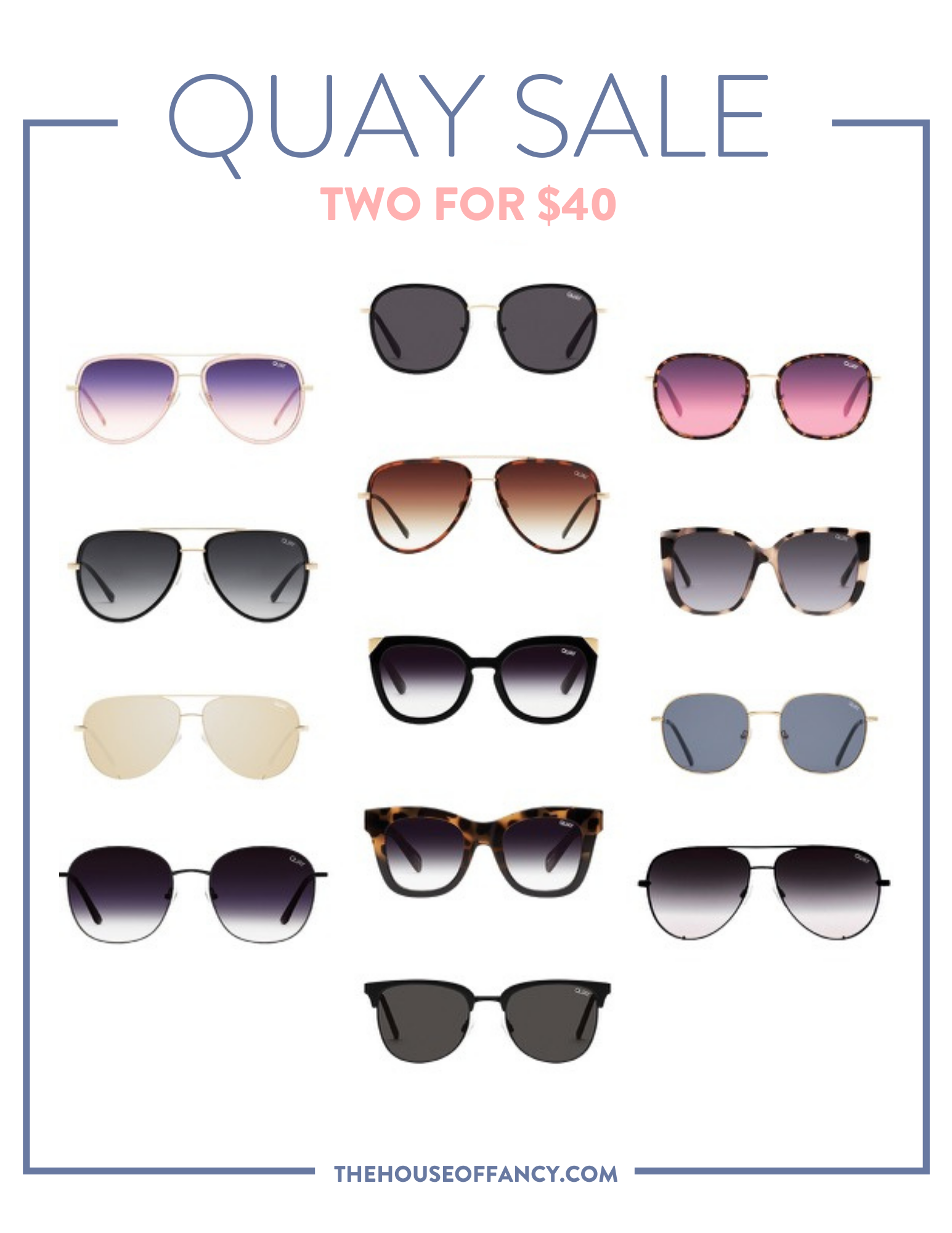 Memorial Day Sales by popular Houston life and style blog, The House of Fancy: collage image of Quay sunglasses.