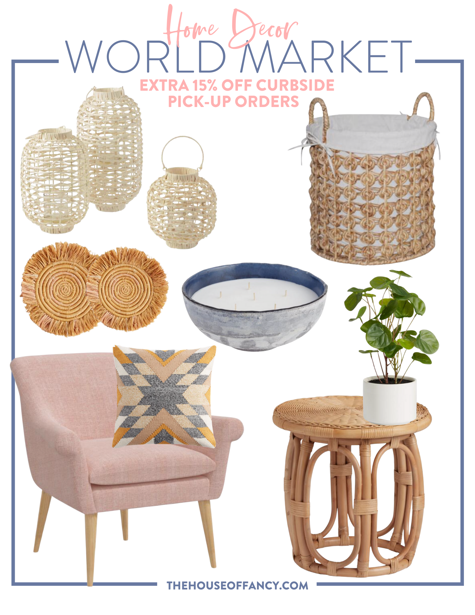 Memorial Day Sales by popular Houston life and style blog, The House of Fancy: collage image of a World Market wicker basket, World Market 6 wick candle, World Market potted house plant in a white planter, World market tribal print throw pillow, World Market pine armchair, World Market rattan end table, World Market straw mats, and World Market wicker lanterns.