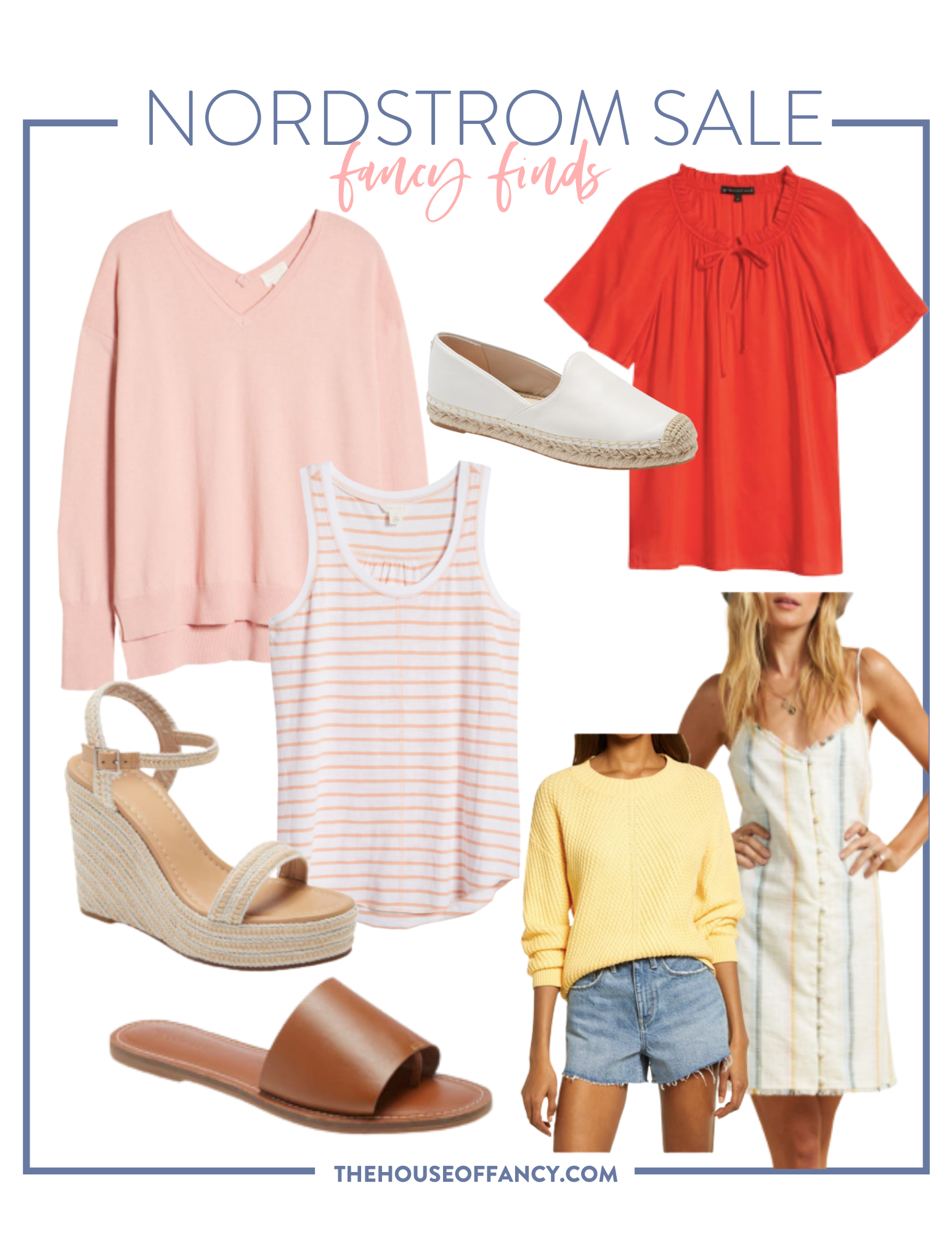 Memorial Day Sales by popular Houston life and style blog, The House of Fancy: collage image of Nordstrom sweater, Nordstrom striped tank top, Nordstrom peasant blouse, Nordstrom white espadrilles, Nordstrom wedge platform sandals, Nordstrom yellow sweater, Nordstrom  white striped dress, and Nordstrom brown slide sandals.