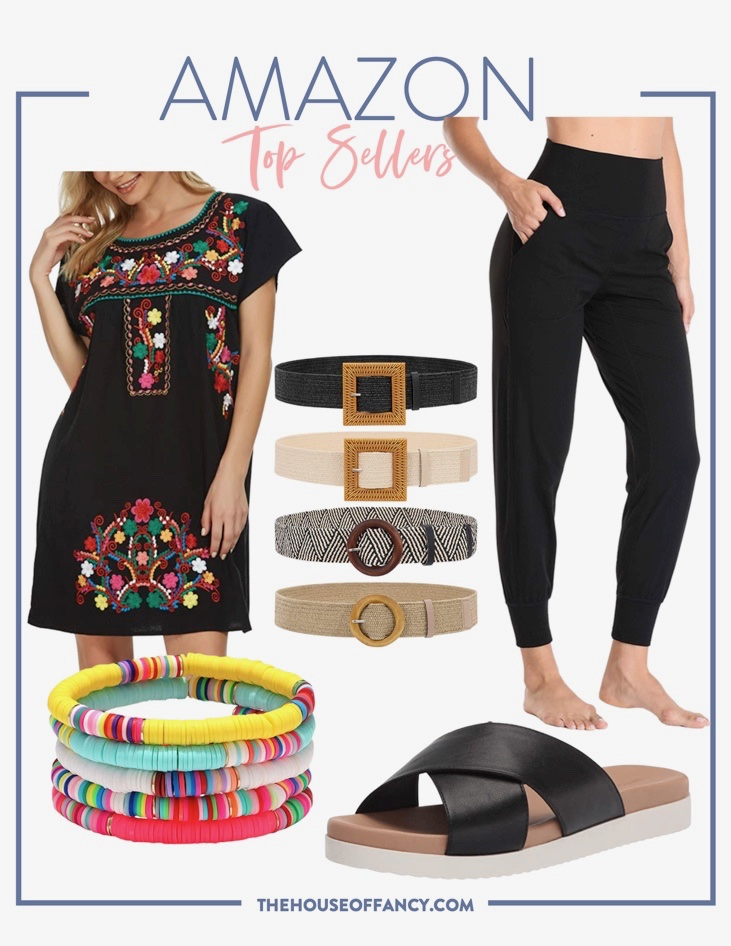 Top Sellers by popular Houston fashion blog, The House of Fancy: collage image of Amazon black embroidered dress, black jogger pants, waist belts, colorful beaded bracelets, and black cross strap slide sandals.