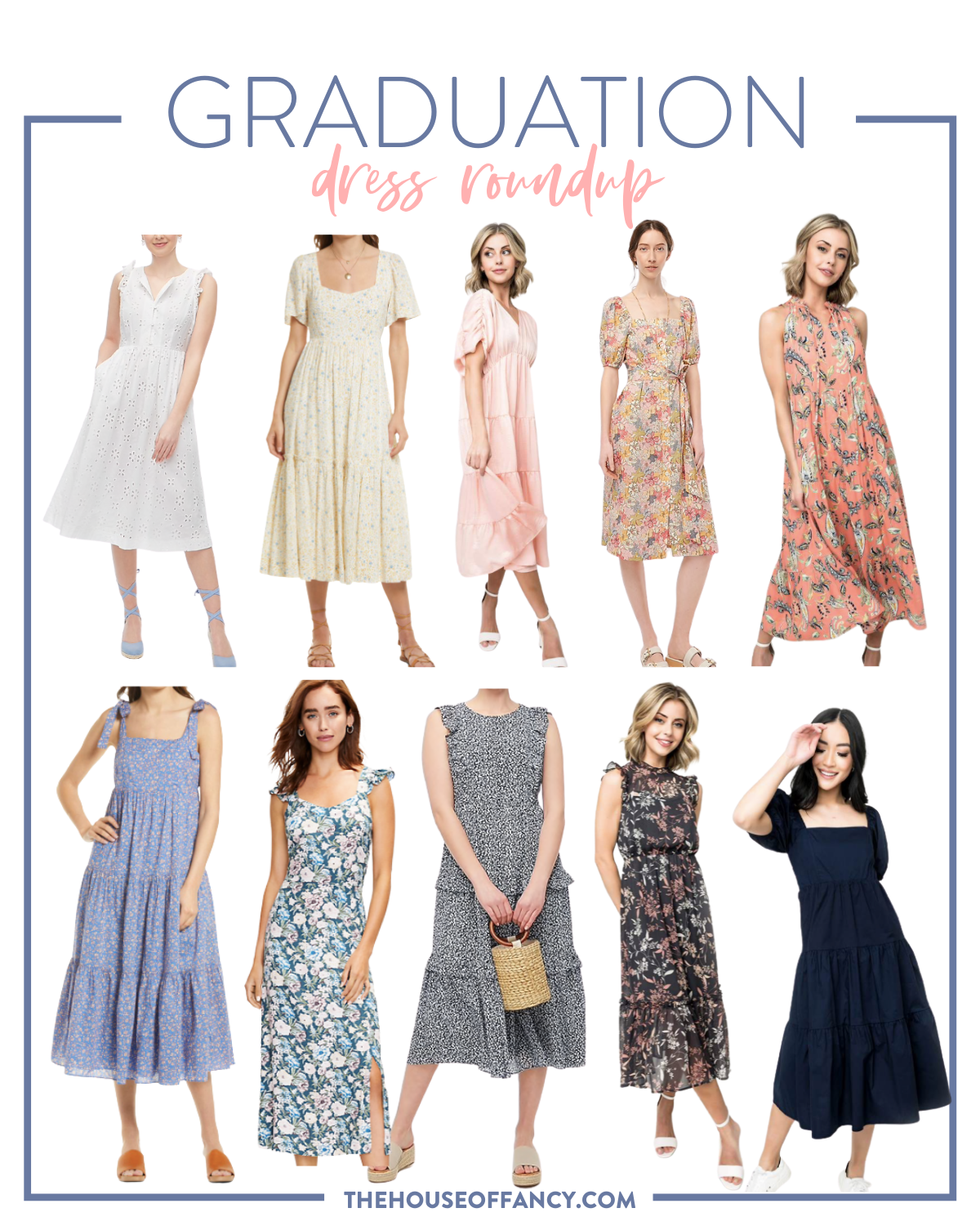 graduation dress roundup | pink graduation dress | Graduation Dress by popular Houston fashion blog, The House of Fancy: collage image of floral print dresses, babydoll dresses, maxi dresses, and a white eyelet dress.