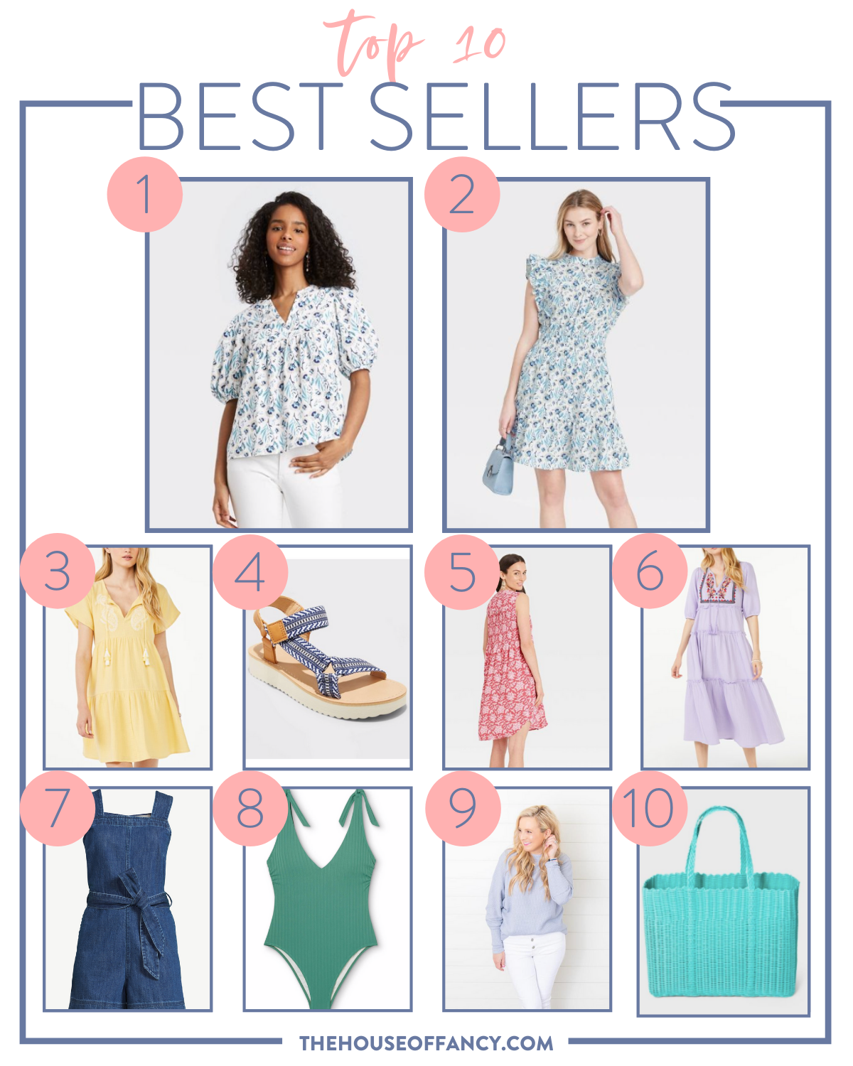Top Sellers by popular Houston fashion blog, The House of Fancy: collage image of a blue and white floral print blouse, blue and white floral print flutter sleeve dress, yellow tiered dress, blue and white stripe strap sandals, red and white print sleeveless dress, purple floral embroidered tiered dress, denim romper, green tie strap swimsuit, white jeans, and blue wicker tote bag.