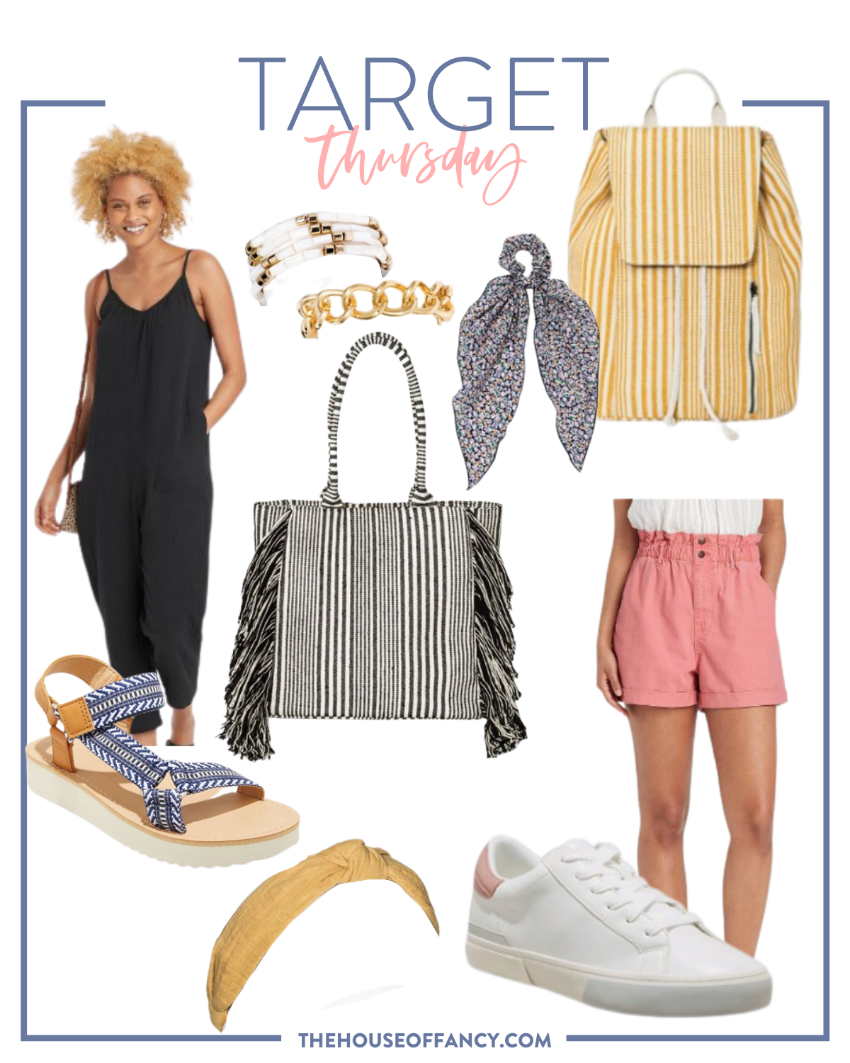 Target New Arrivals by popular Houston fashion blog, The House of Fancy: collage image of a black jumper, pink paper bag shorts, yellow and white stripe backpack, floral hair scrunch, black and white stripe tote, gold chain link bracelet, yellow knot headband, white sneakers, and blue and white fabric strap sandals.